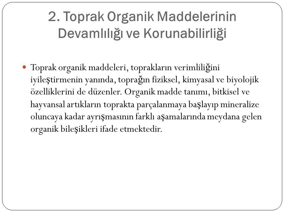 2. Toprak Organik Maddelerinin Devamlılığı ve Korunabilirliği