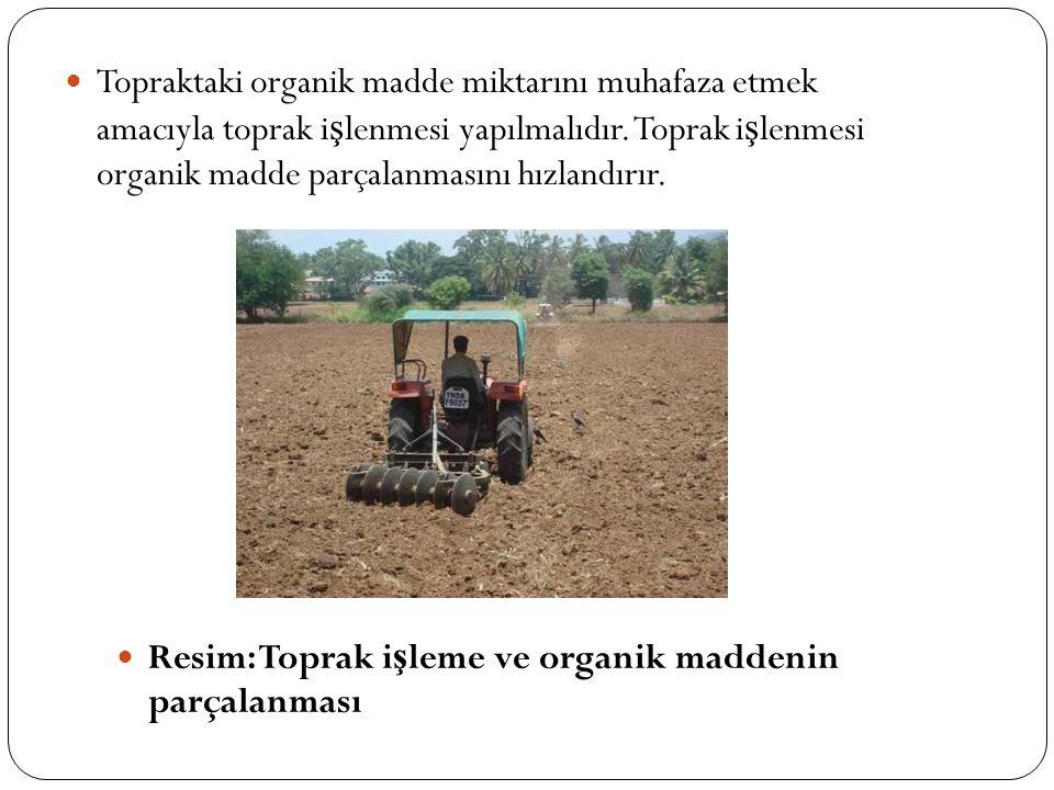Topraktaki organik madde miktarını muhafaza etmek amacıyla toprak işlenmesi yapılmalıdır. Toprak işlenmesi organik madde parçalanmasını hızlandırır.