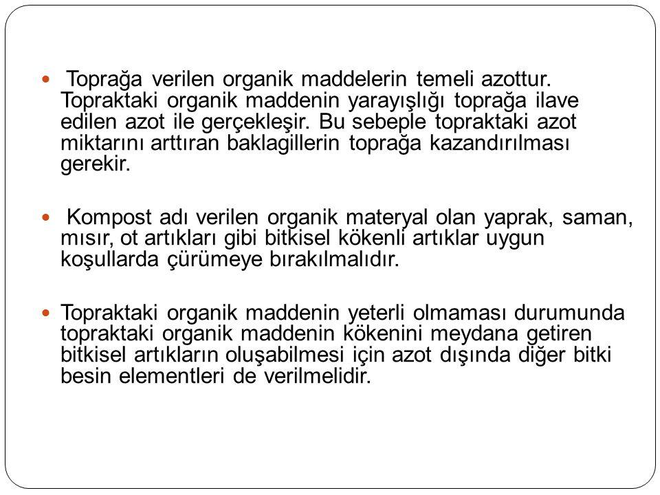 Toprağa verilen organik maddelerin temeli azottur