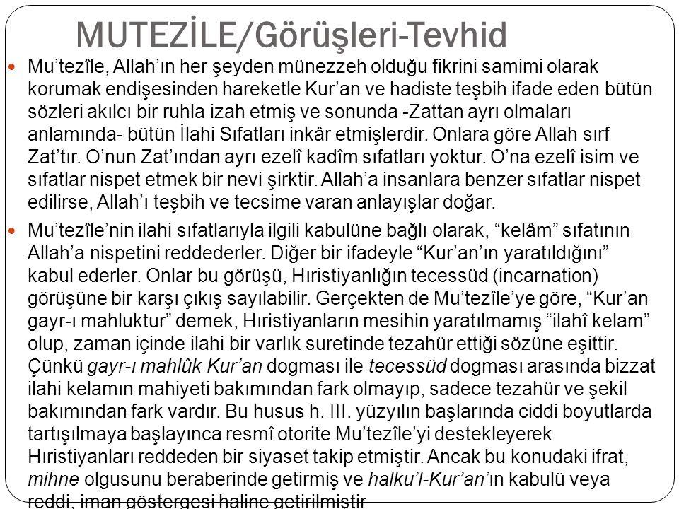 MUTEZİLE/Görüşleri-Tevhid