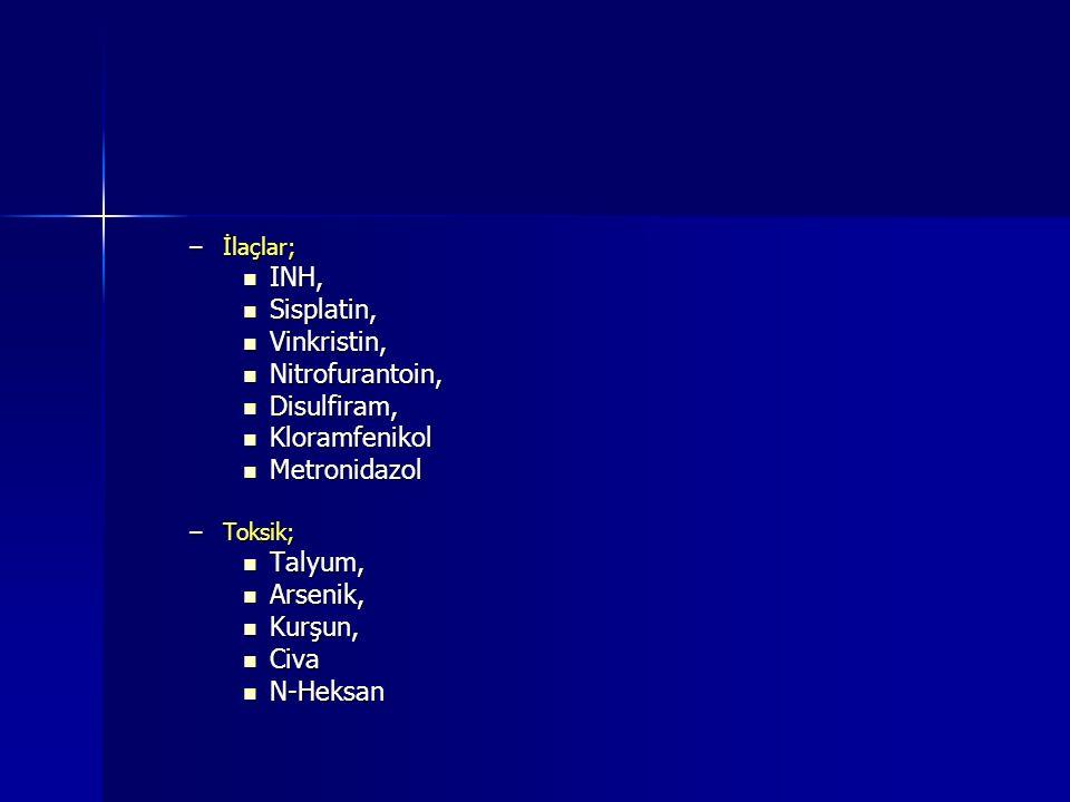 INH, Sisplatin, Vinkristin, Nitrofurantoin, Disulfiram, Kloramfenikol