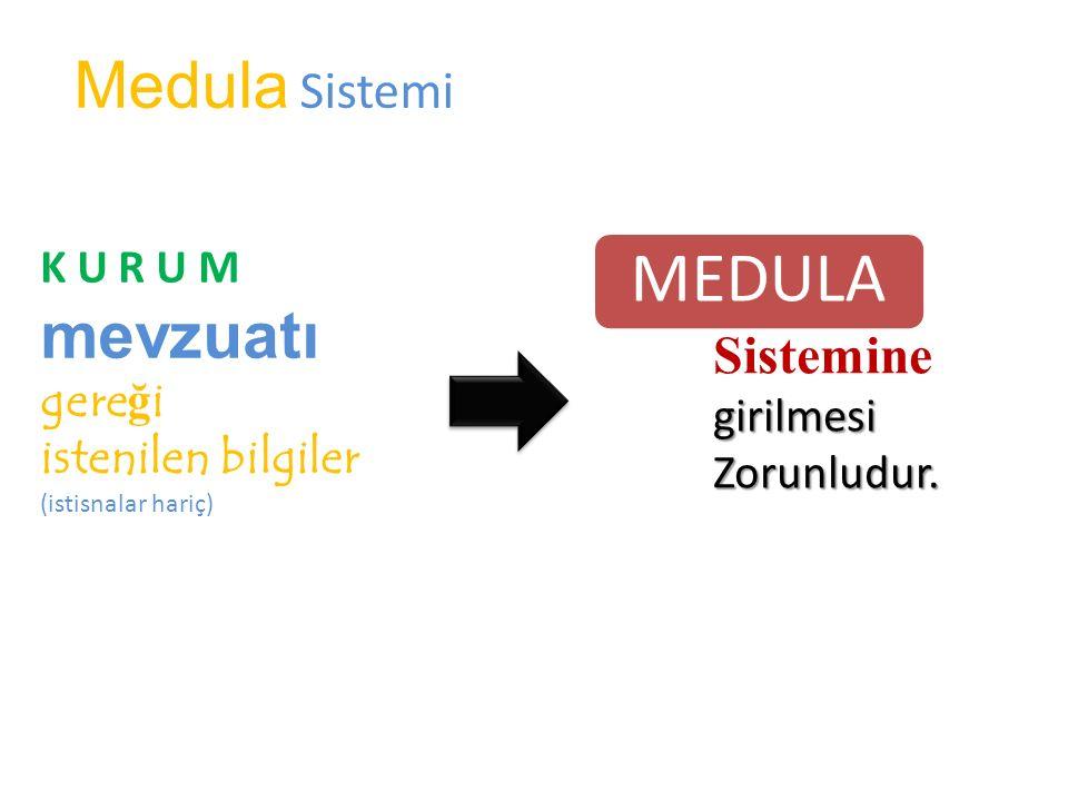 MEDULA Medula Sistemi mevzuatı Sistemine K U R U M gereği