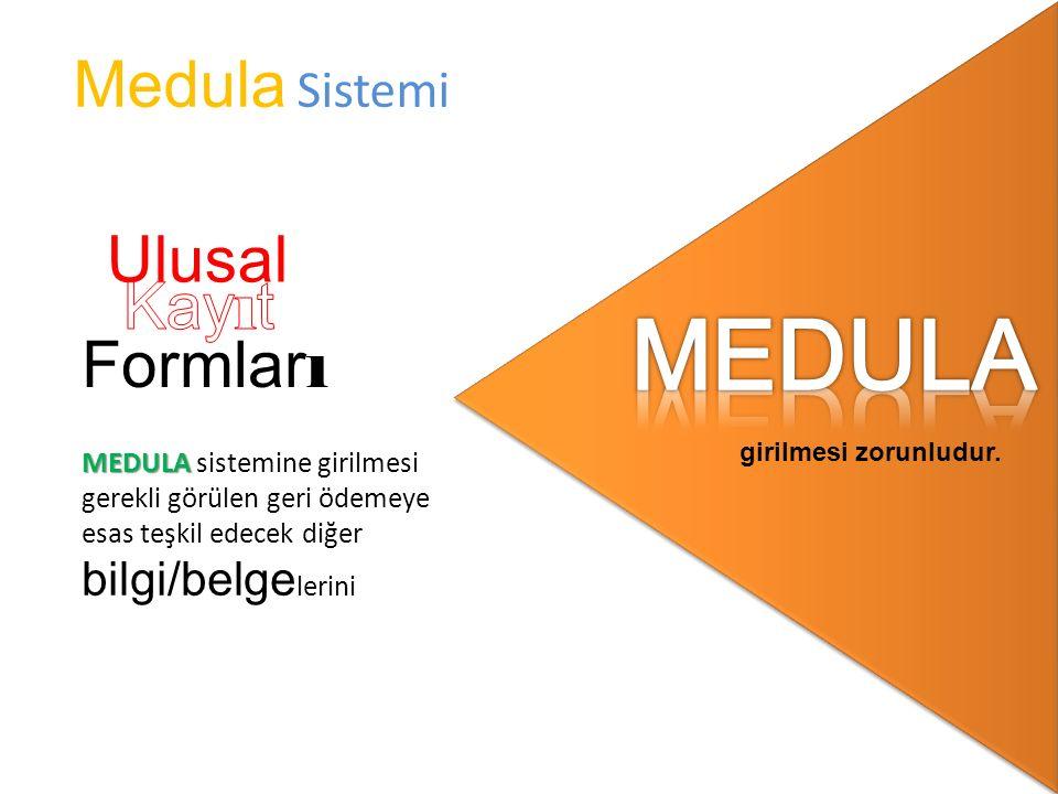 MEDULA Medula Sistemi Ulusal Kayıt Formları MEDULA sistemine girilmesi