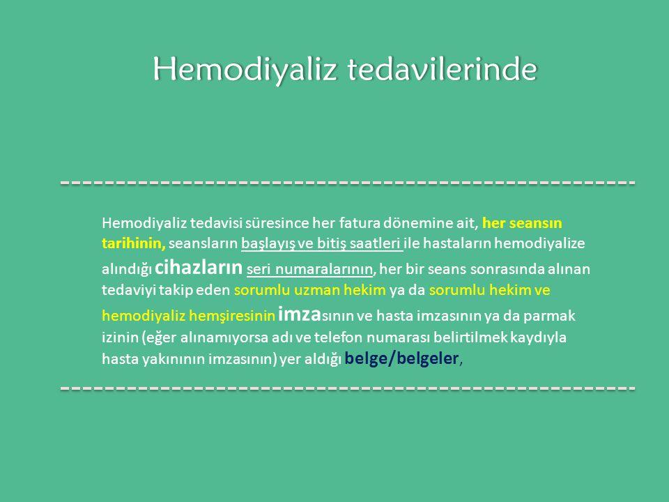 Hemodiyaliz tedavilerinde