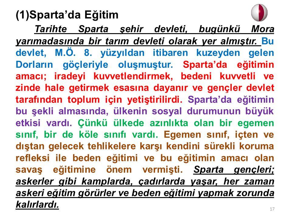(1)Sparta'da Eğitim