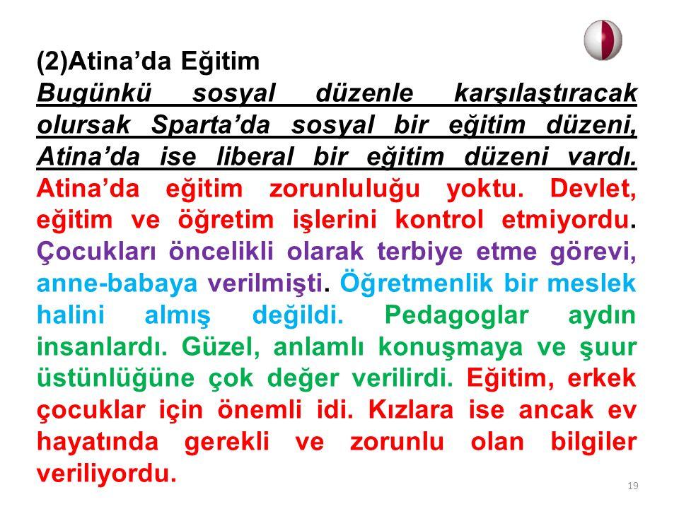 (2)Atina'da Eğitim