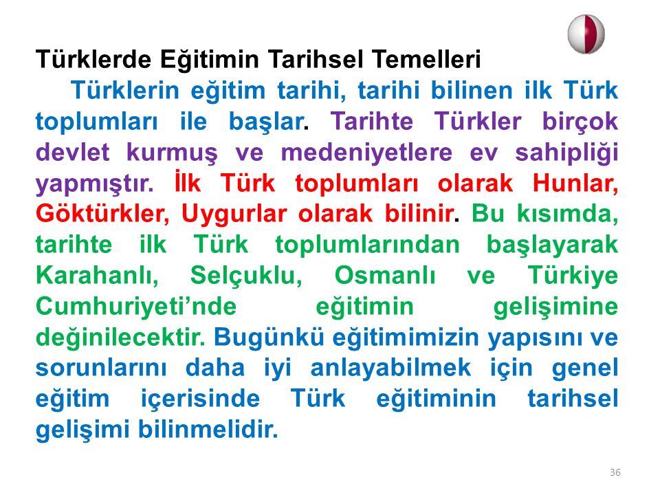 Türklerde Eğitimin Tarihsel Temelleri
