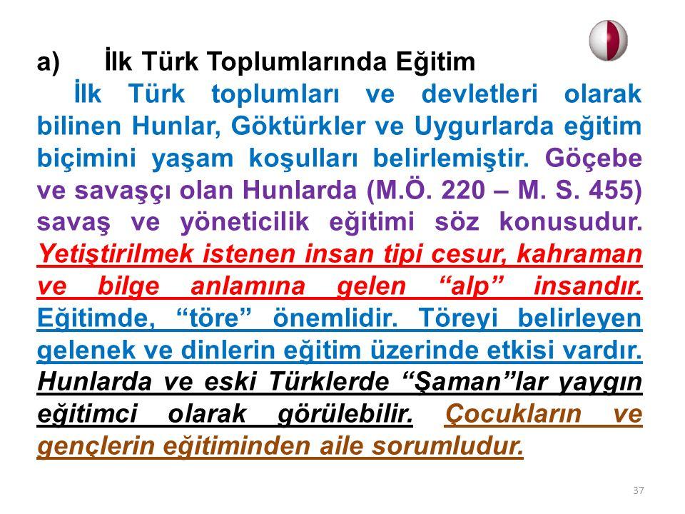 a) İlk Türk Toplumlarında Eğitim