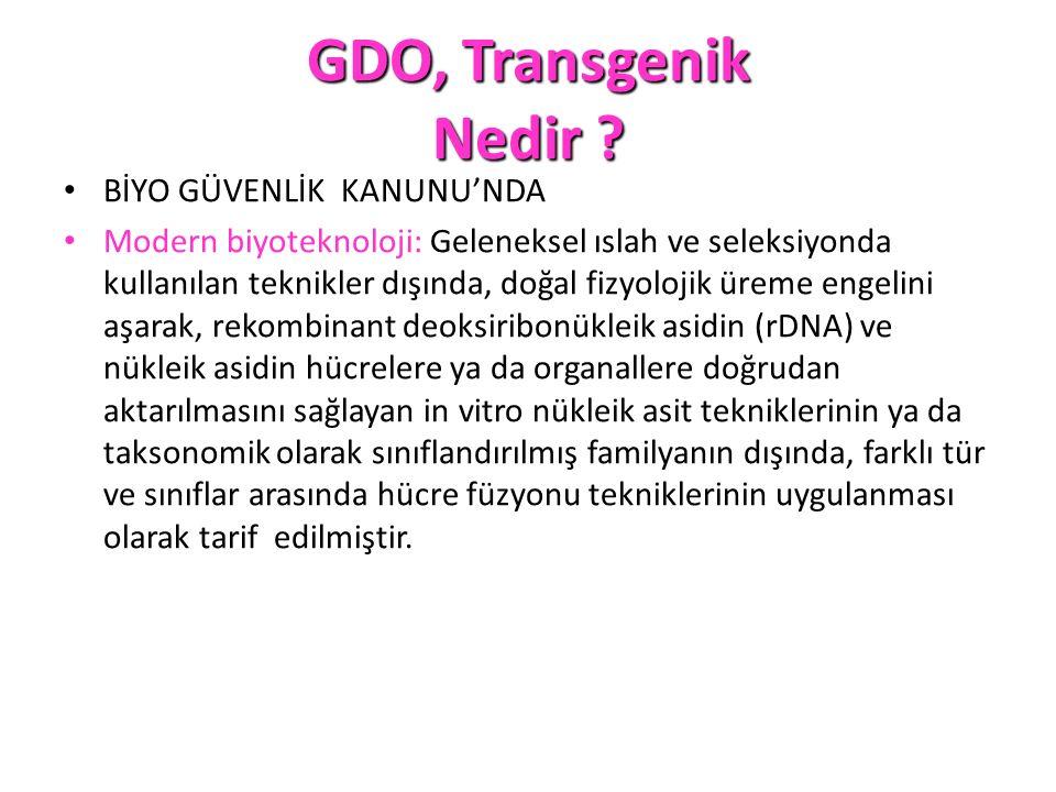 GDO, Transgenik Nedir BİYO GÜVENLİK KANUNU'NDA