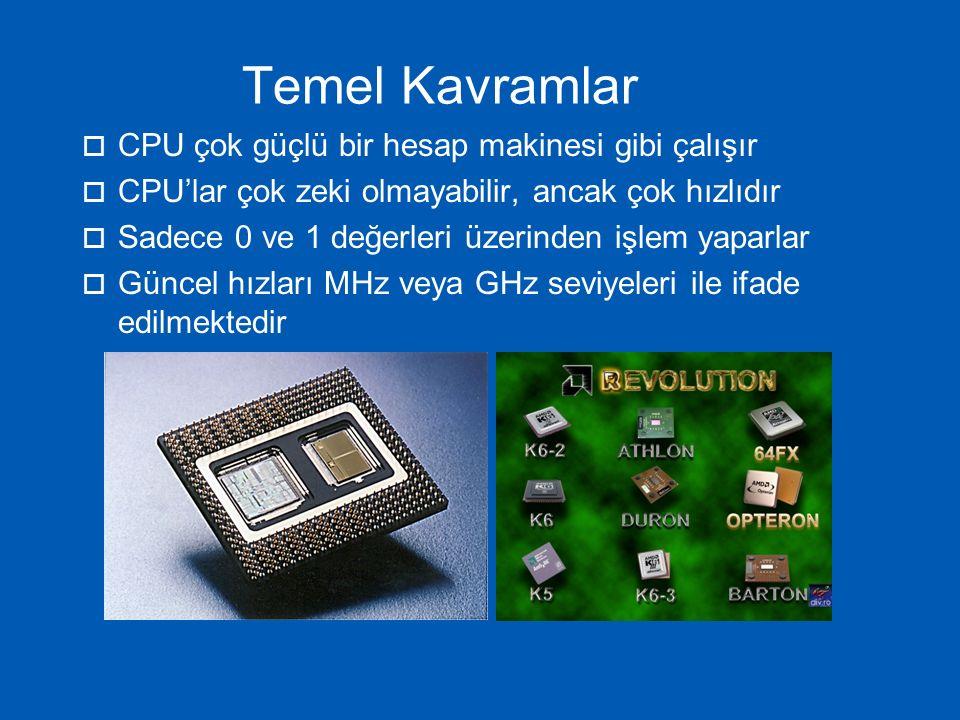 Temel Kavramlar CPU çok güçlü bir hesap makinesi gibi çalışır