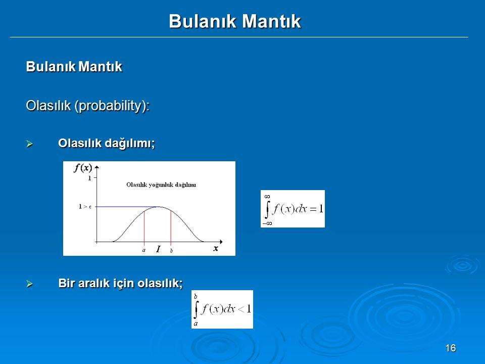 Bulanık Mantık Bulanık Mantık Olasılık (probability):