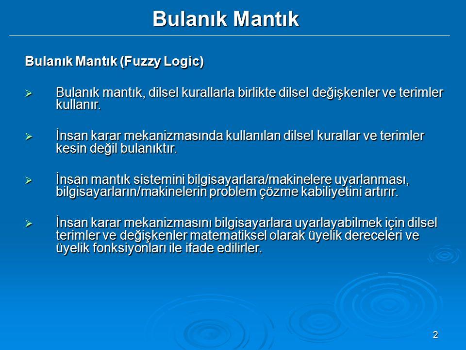 Bulanık Mantık Bulanık Mantık (Fuzzy Logic)