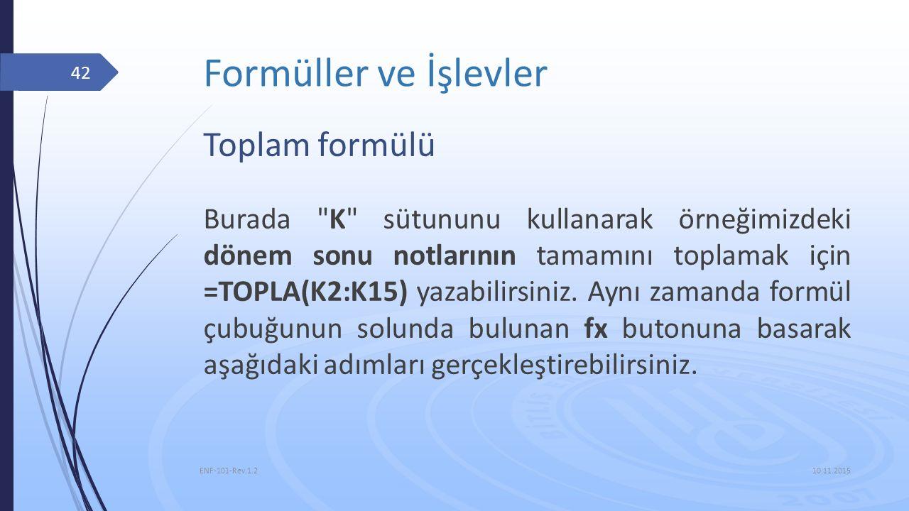 Formüller ve İşlevler Toplam formülü