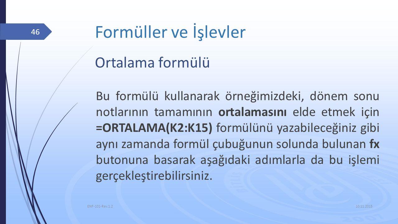 Formüller ve İşlevler Ortalama formülü