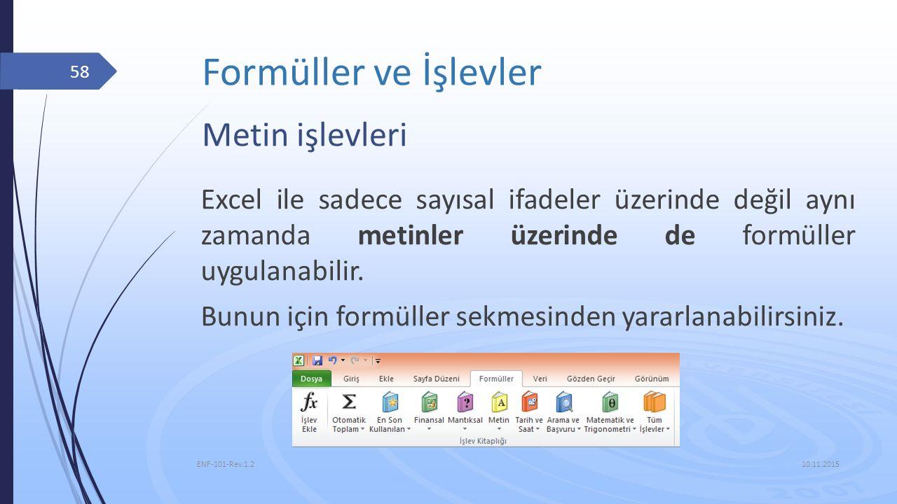 Formüller ve İşlevler Metin işlevleri