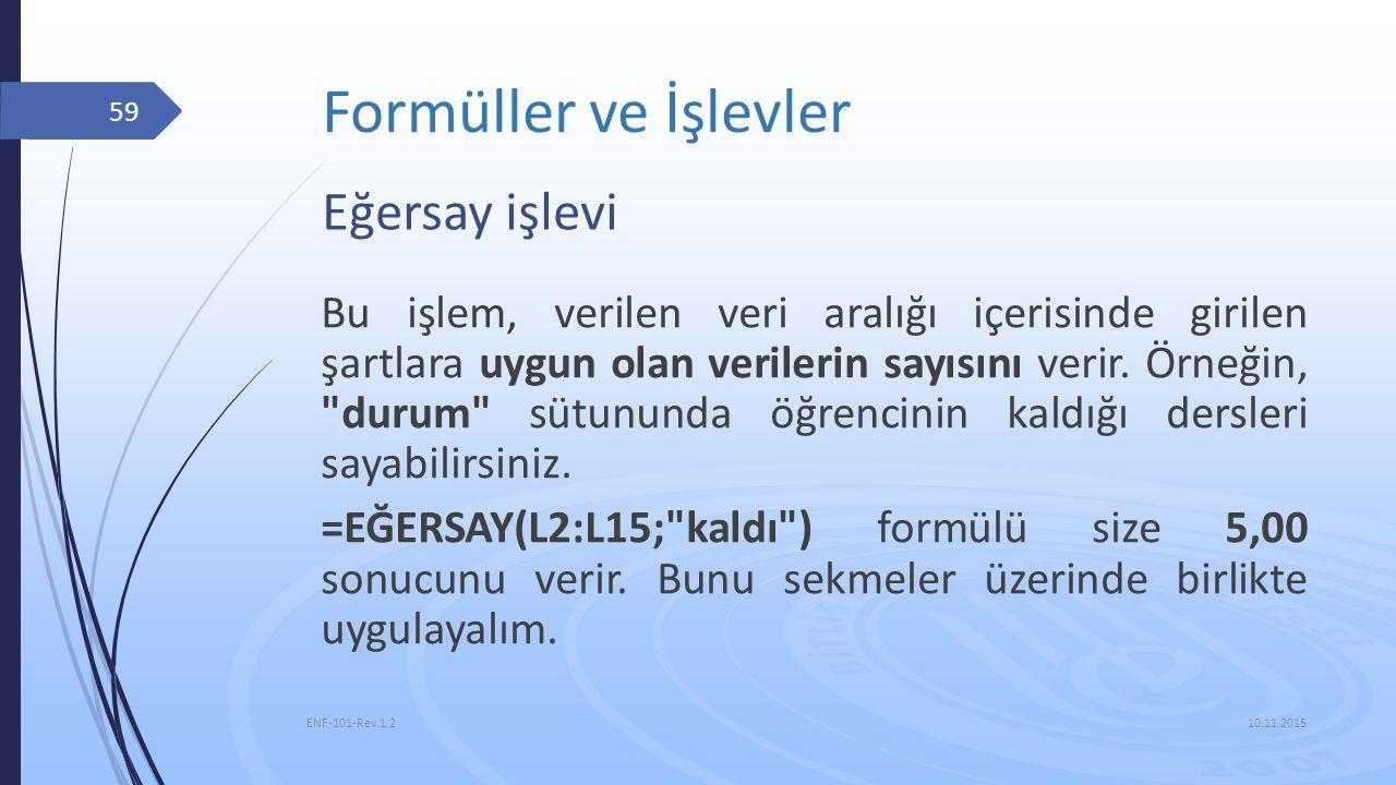 Formüller ve İşlevler Eğersay işlevi