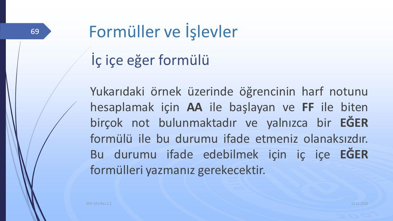 Formüller ve İşlevler İç içe eğer formülü