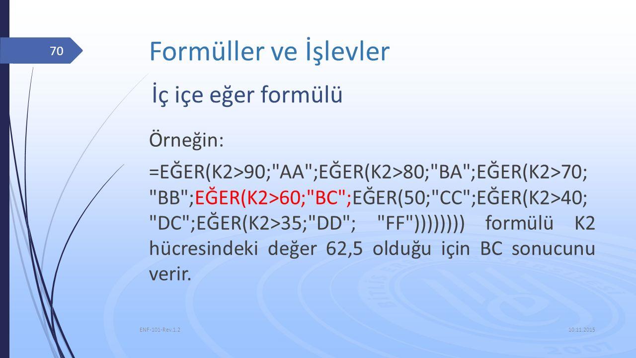 Formüller ve İşlevler İç içe eğer formülü Örneğin: