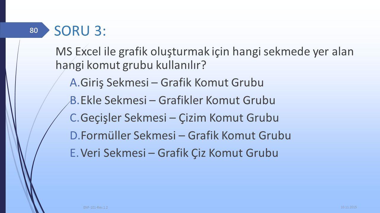 SORU 3: MS Excel ile grafik oluşturmak için hangi sekmede yer alan hangi komut grubu kullanılır Giriş Sekmesi – Grafik Komut Grubu.