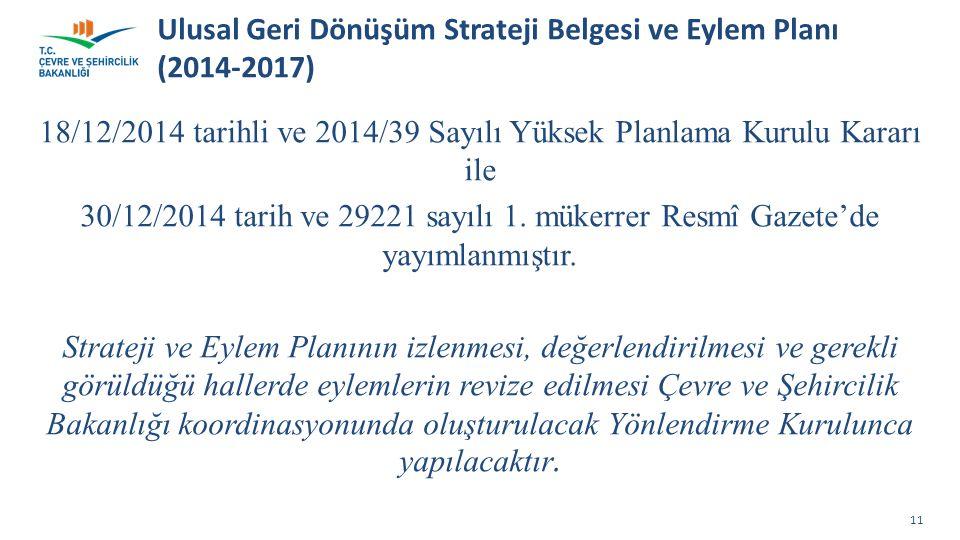 Ulusal Geri Dönüşüm Strateji Belgesi ve Eylem Planı (2014-2017)