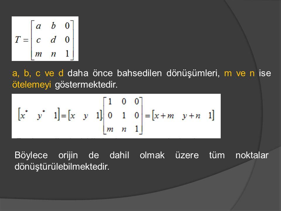 a, b, c ve d daha önce bahsedilen dönüşümleri, m ve n ise ötelemeyi göstermektedir.