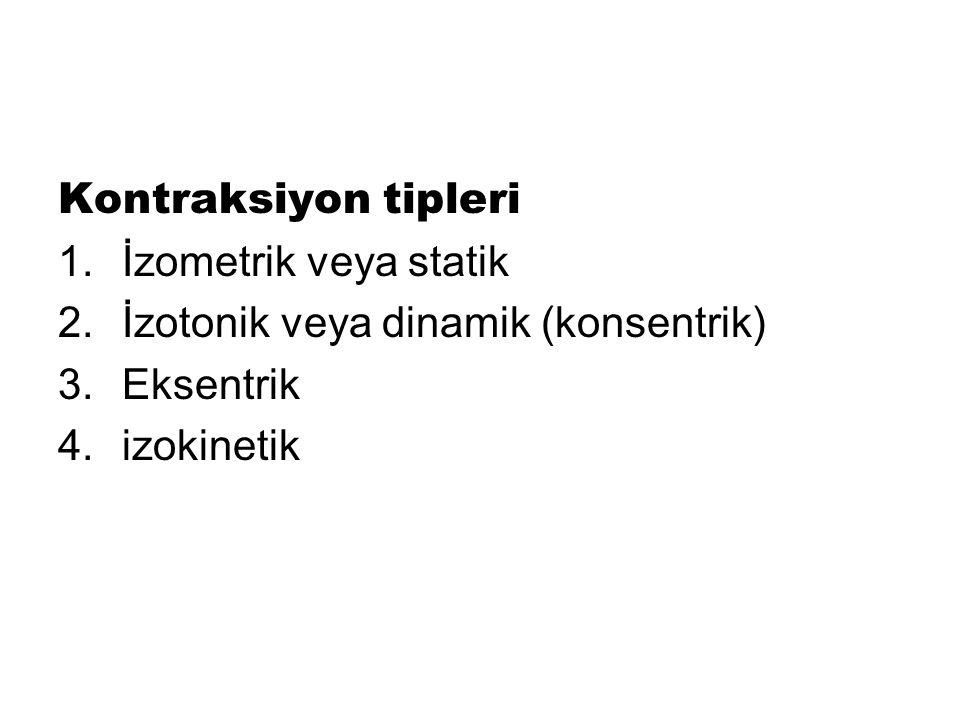 Kontraksiyon tipleri İzometrik veya statik İzotonik veya dinamik (konsentrik) Eksentrik izokinetik