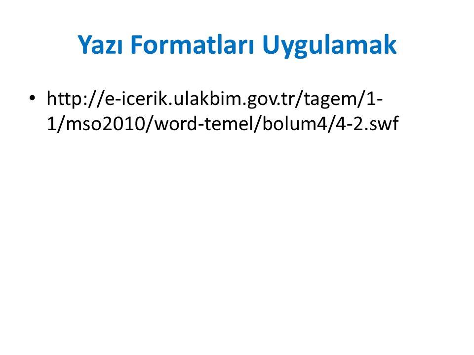 Yazı Formatları Uygulamak