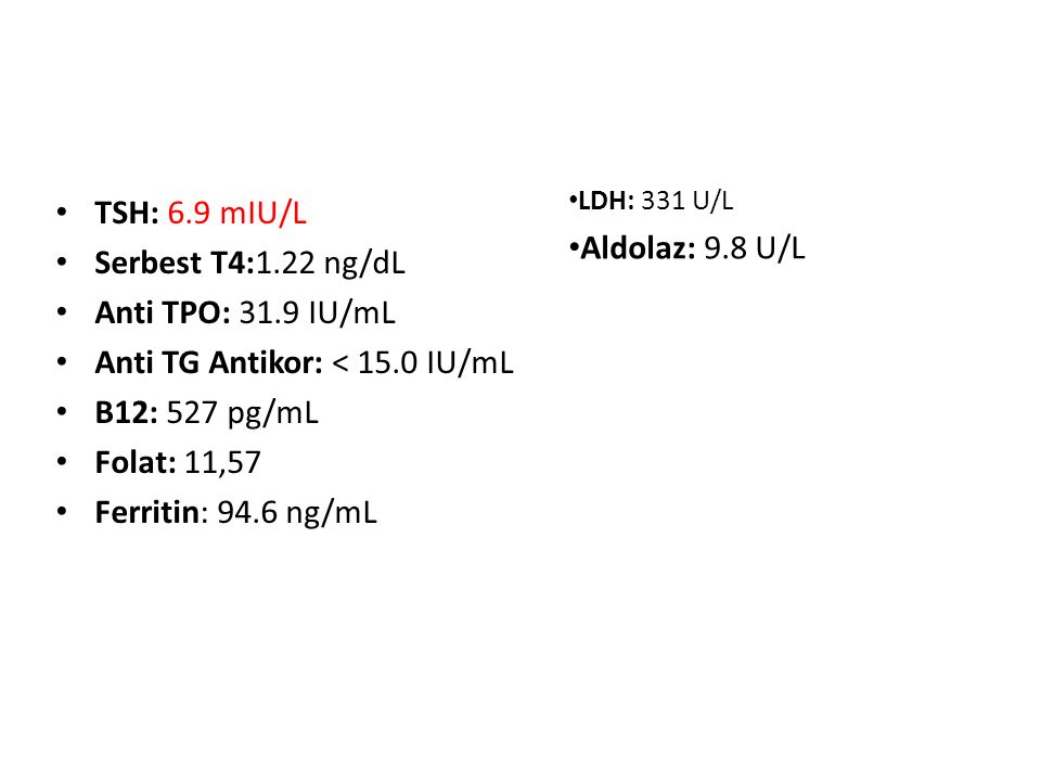 Anti TG Antikor: < 15.0 IU/mL B12: 527 pg/mL Folat: 11,57