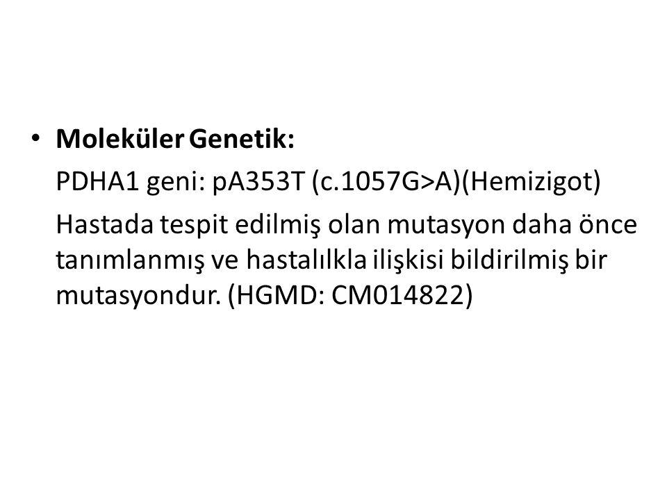 Moleküler Genetik: PDHA1 geni: pA353T (c.1057G>A)(Hemizigot)