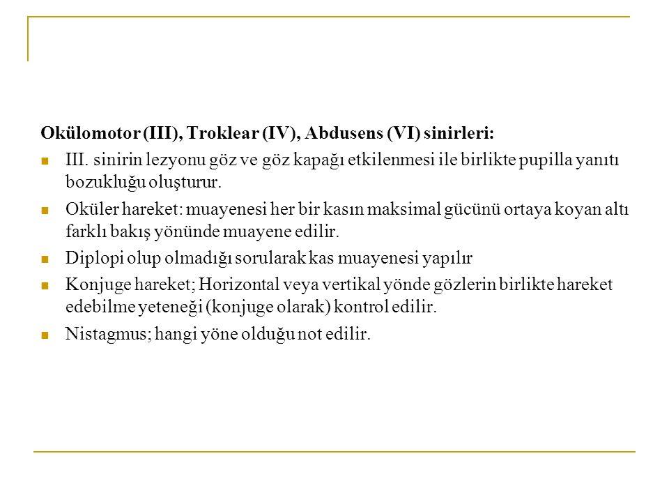 Okülomotor (III), Troklear (IV), Abdusens (VI) sinirleri: