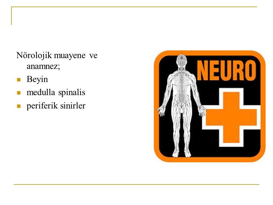 Nörolojik muayene ve anamnez;