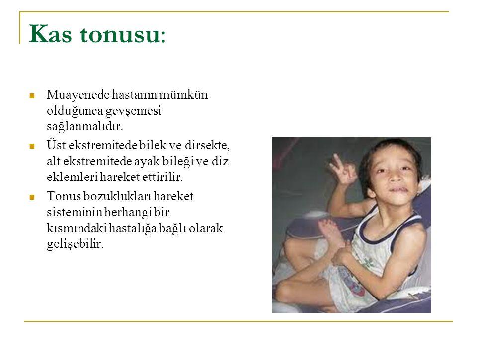 Kas tonusu: Muayenede hastanın mümkün olduğunca gevşemesi sağlanmalıdır.