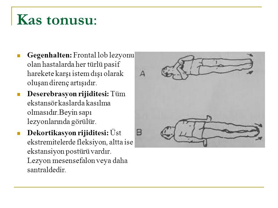 Kas tonusu: Gegenhalten: Frontal lob lezyonu olan hastalarda her türlü pasif harekete karşı istem dışı olarak oluşan direnç artışıdır.