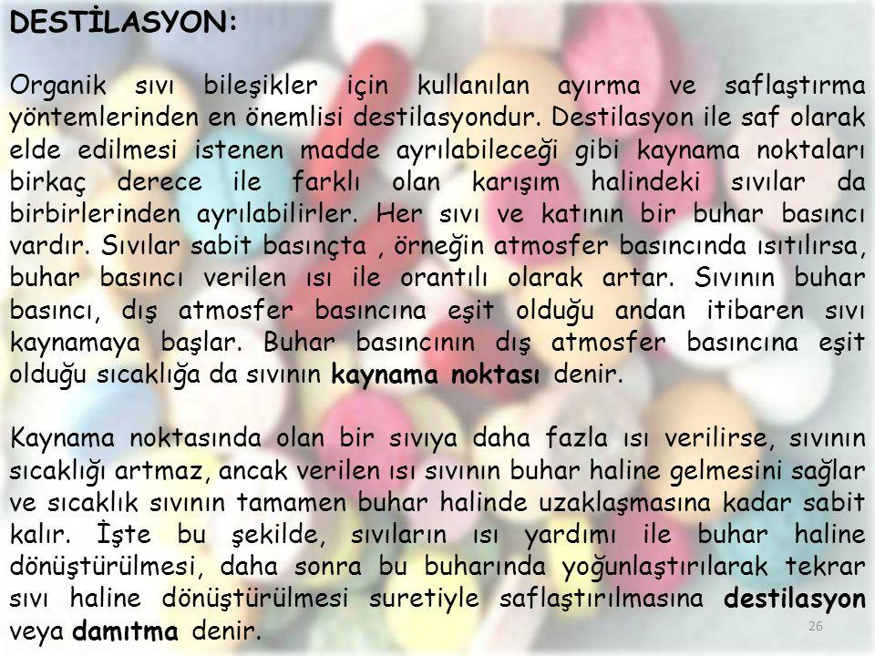 DESTİLASYON: