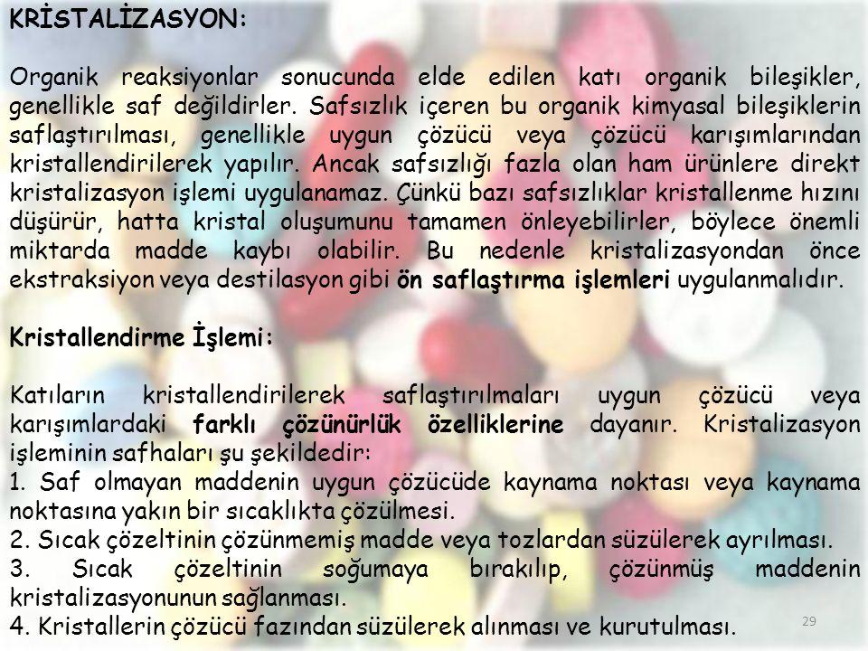 KRİSTALİZASYON: