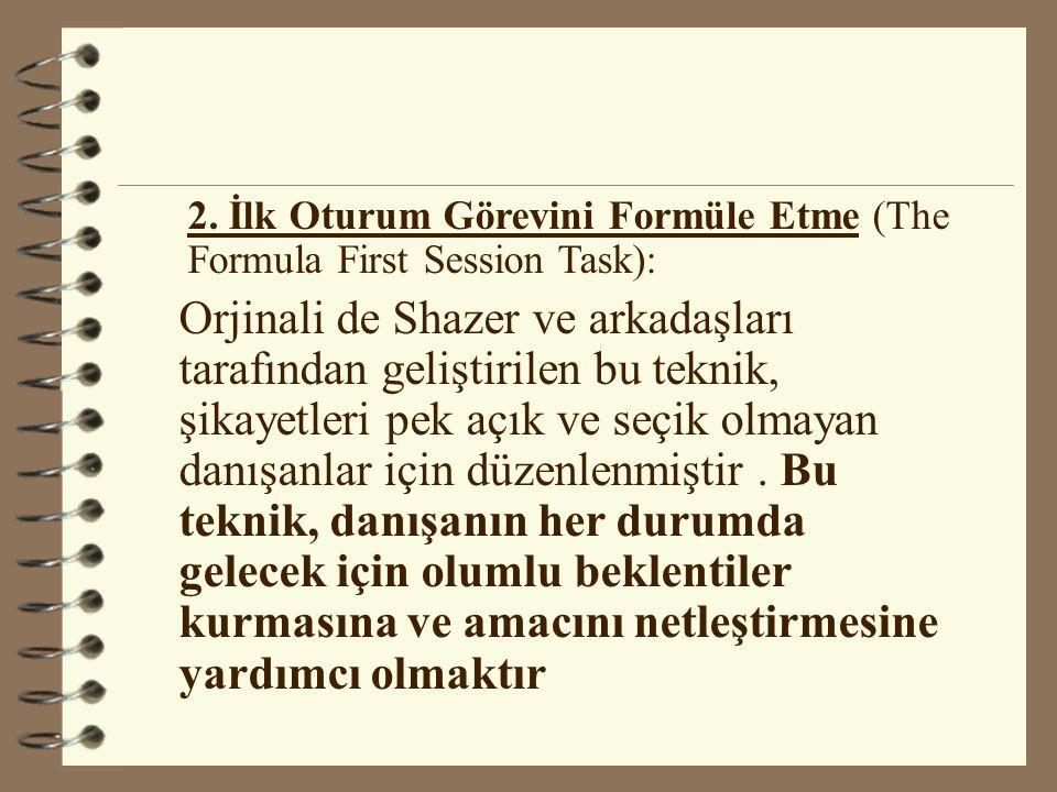 2. İlk Oturum Görevini Formüle Etme (The Formula First Session Task):