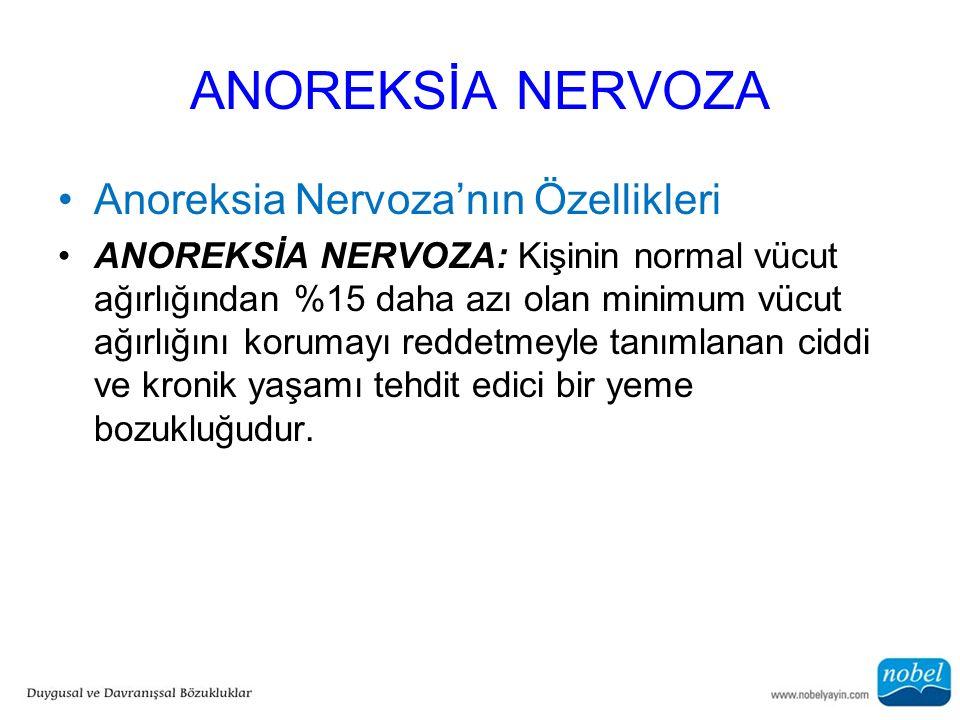 ANOREKSİA NERVOZA Anoreksia Nervoza'nın Özellikleri