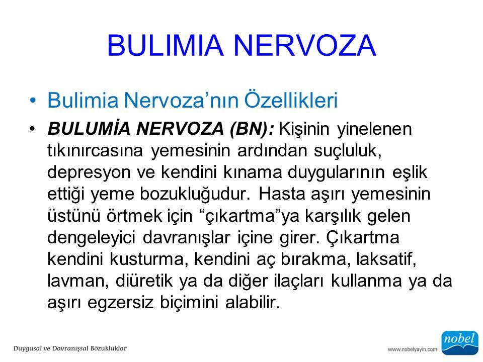 BULIMIA NERVOZA Bulimia Nervoza'nın Özellikleri