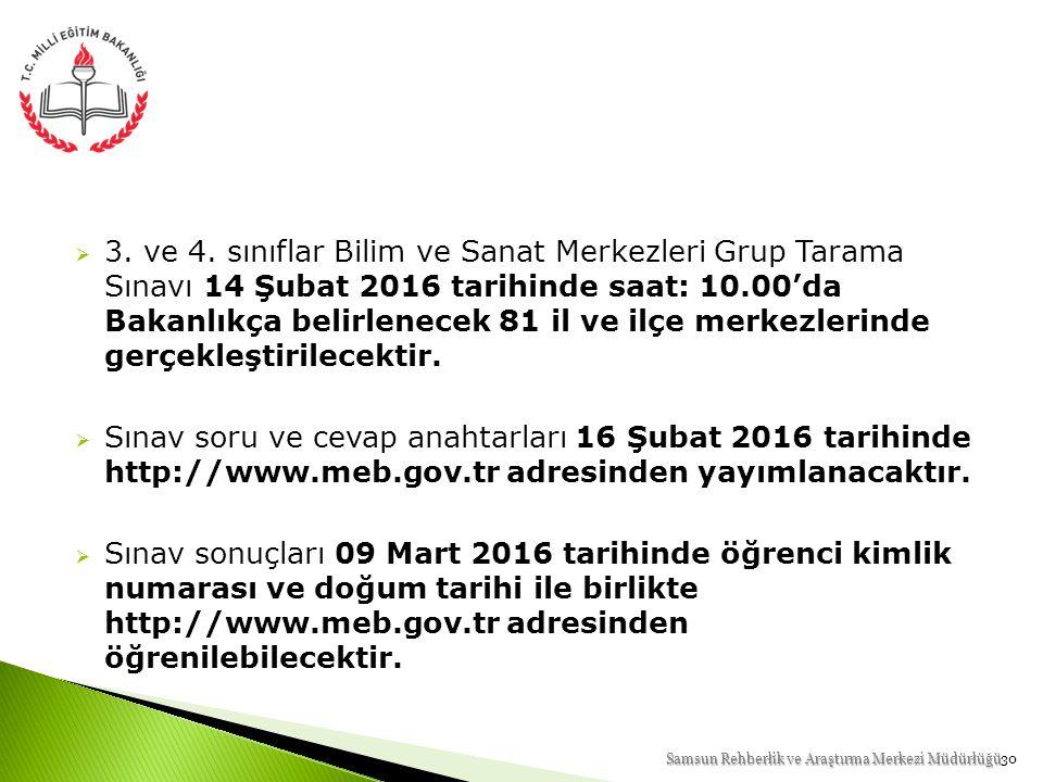 3. ve 4. sınıflar Bilim ve Sanat Merkezleri Grup Tarama Sınavı 14 Şubat 2016 tarihinde saat: 10.00'da Bakanlıkça belirlenecek 81 il ve ilçe merkezlerinde gerçekleştirilecektir.