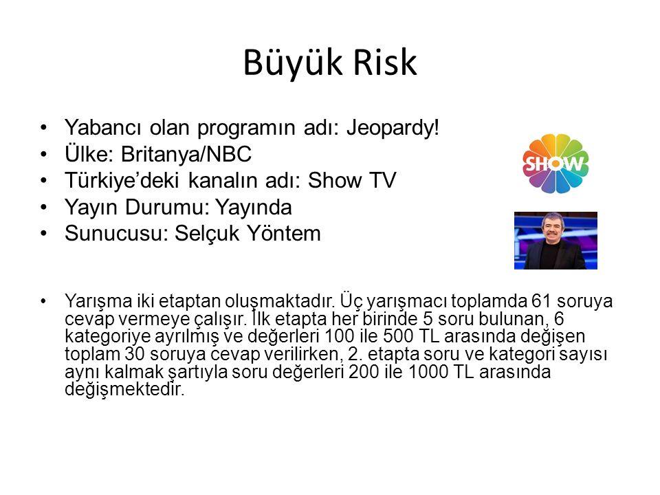 Büyük Risk Yabancı olan programın adı: Jeopardy! Ülke: Britanya/NBC