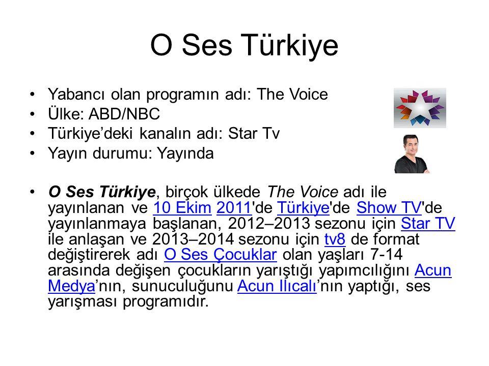 O Ses Türkiye Yabancı olan programın adı: The Voice Ülke: ABD/NBC