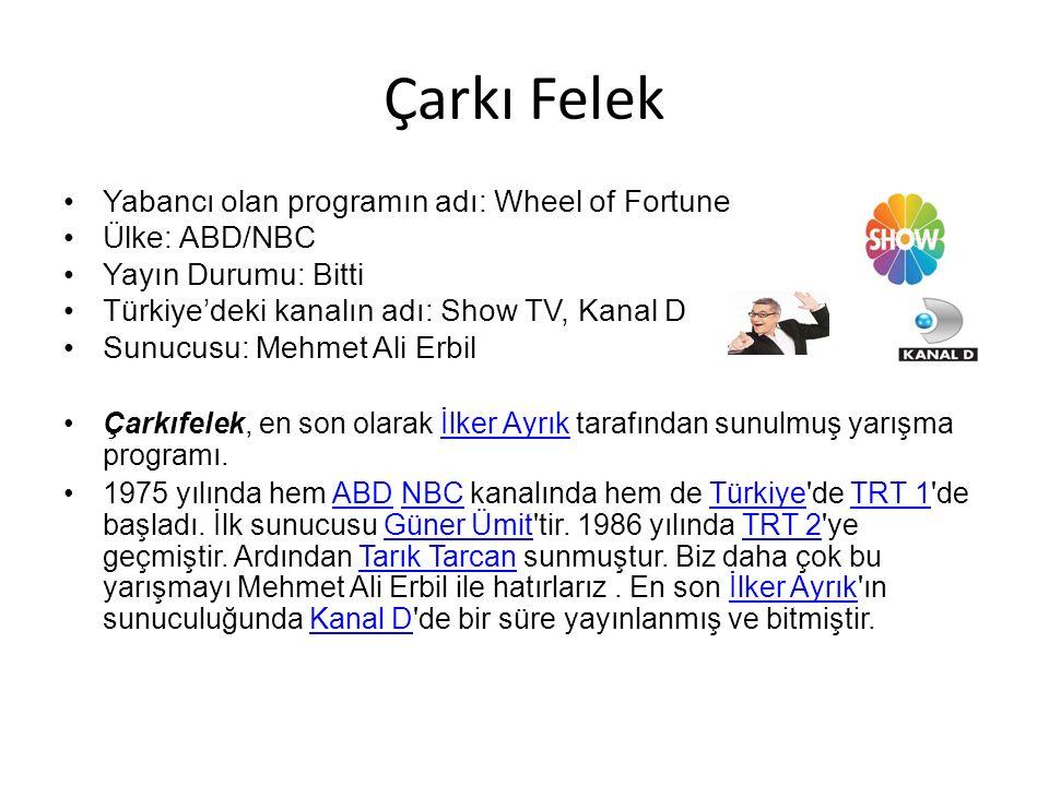 Çarkı Felek Yabancı olan programın adı: Wheel of Fortune Ülke: ABD/NBC