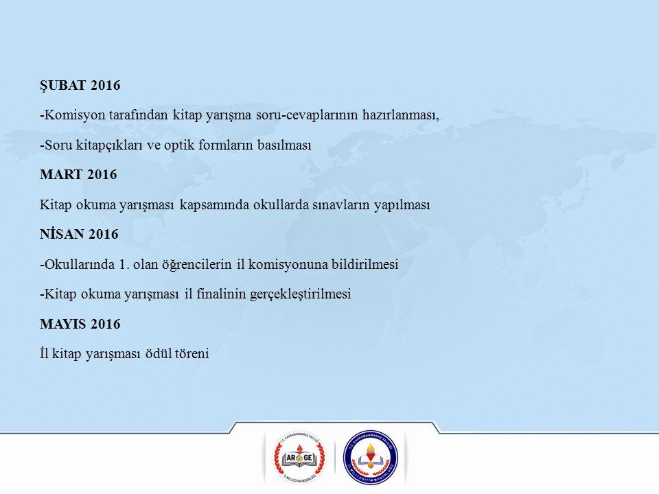 ŞUBAT 2016 -Komisyon tarafından kitap yarışma soru-cevaplarının hazırlanması, -Soru kitapçıkları ve optik formların basılması MART 2016 Kitap okuma yarışması kapsamında okullarda sınavların yapılması NİSAN 2016 -Okullarında 1.