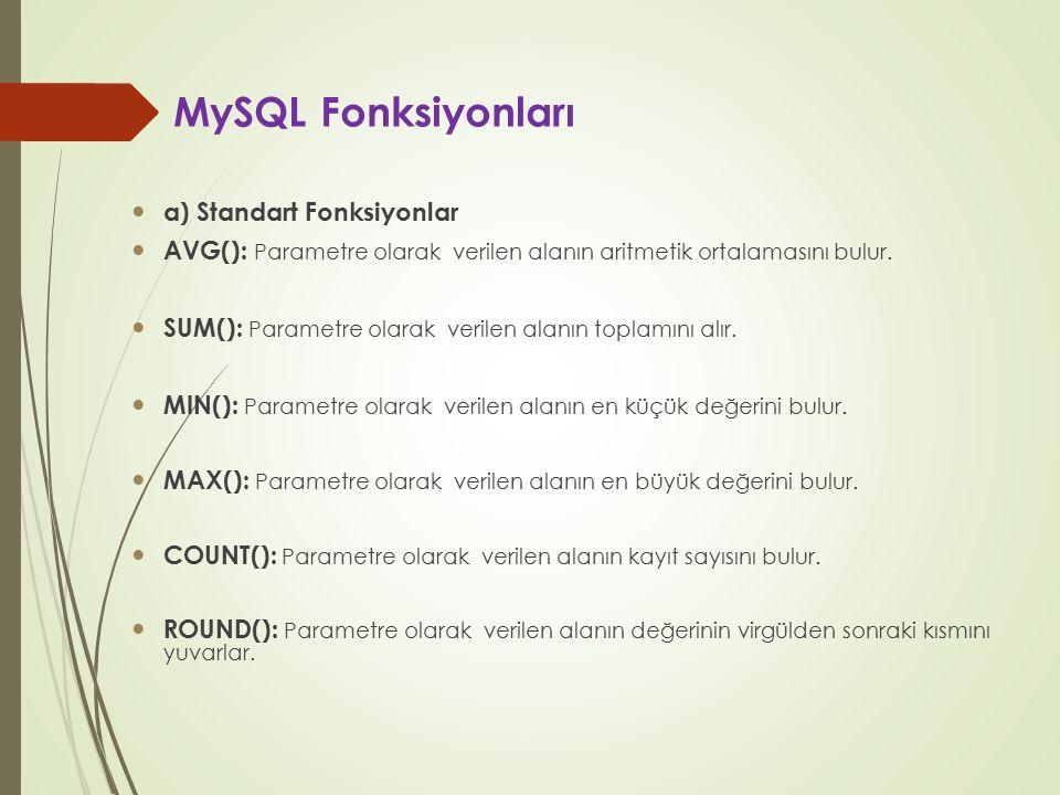MySQL Fonksiyonları a) Standart Fonksiyonlar