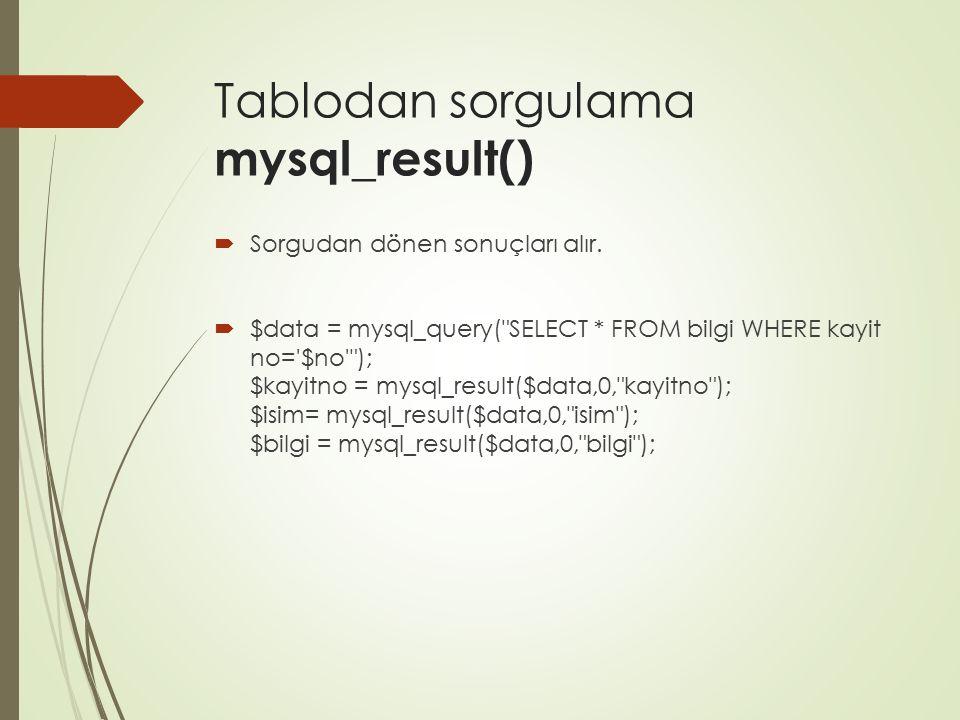 Tablodan sorgulama mysql_result()