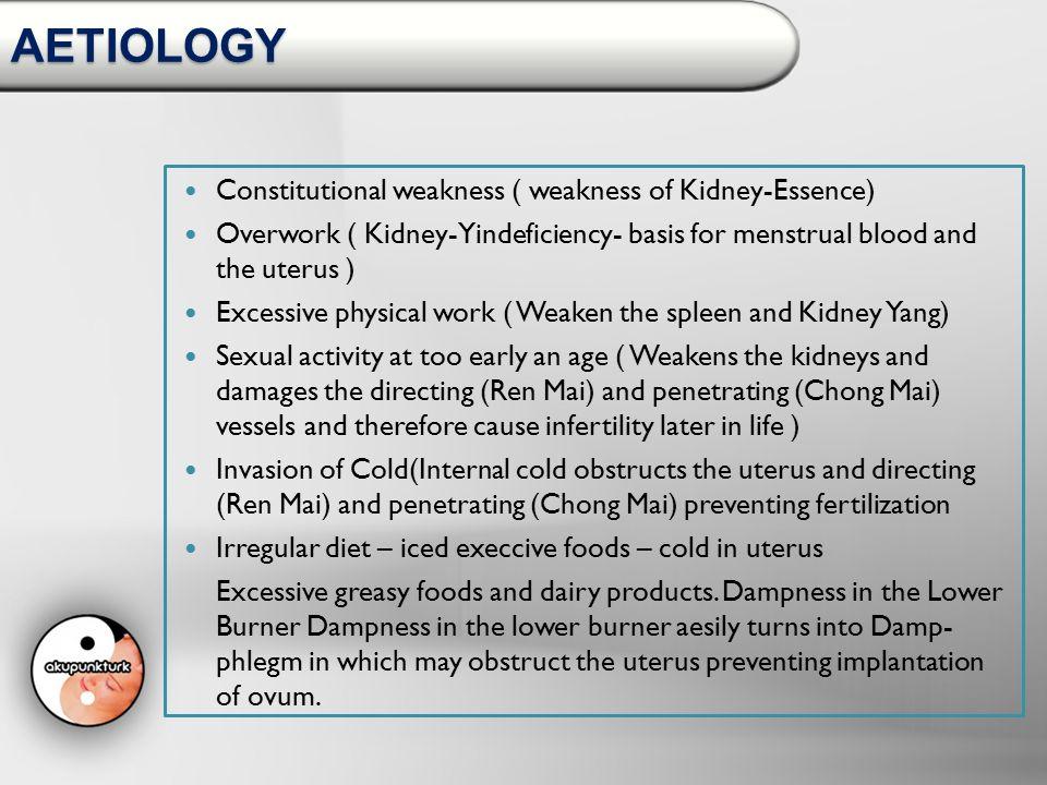 AETIOLOGY Constitutional weakness ( weakness of Kidney-Essence)