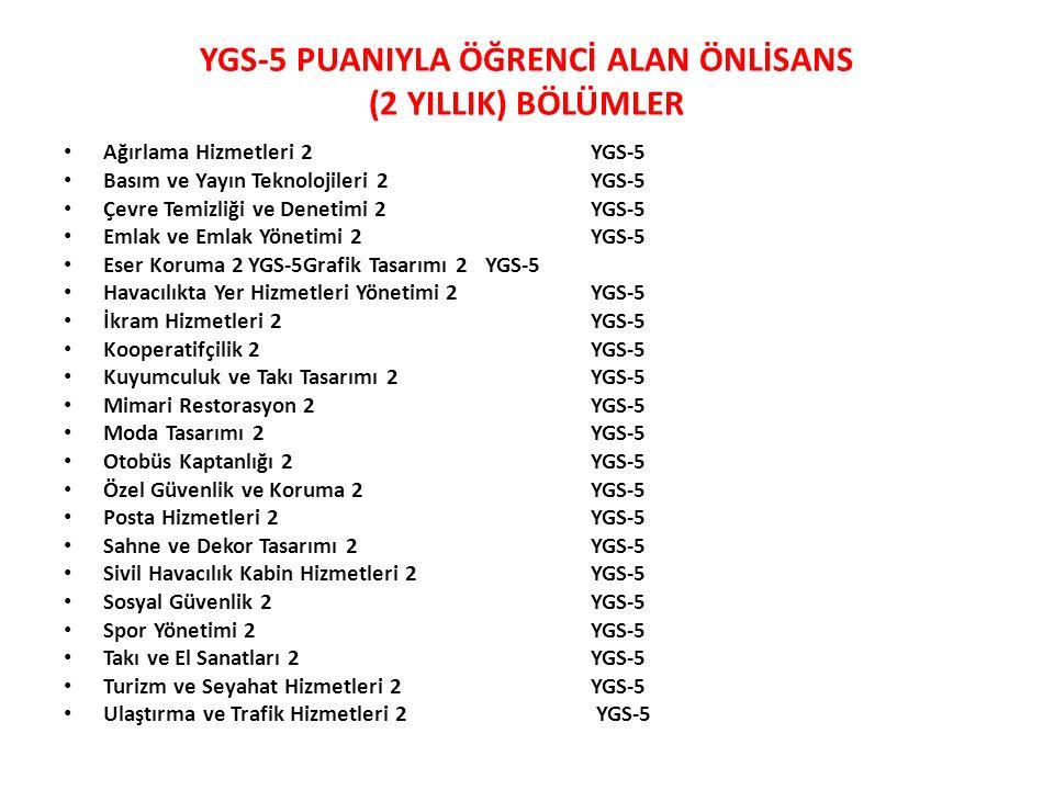 YGS-5 PUANIYLA ÖĞRENCİ ALAN ÖNLİSANS (2 YILLIK) BÖLÜMLER