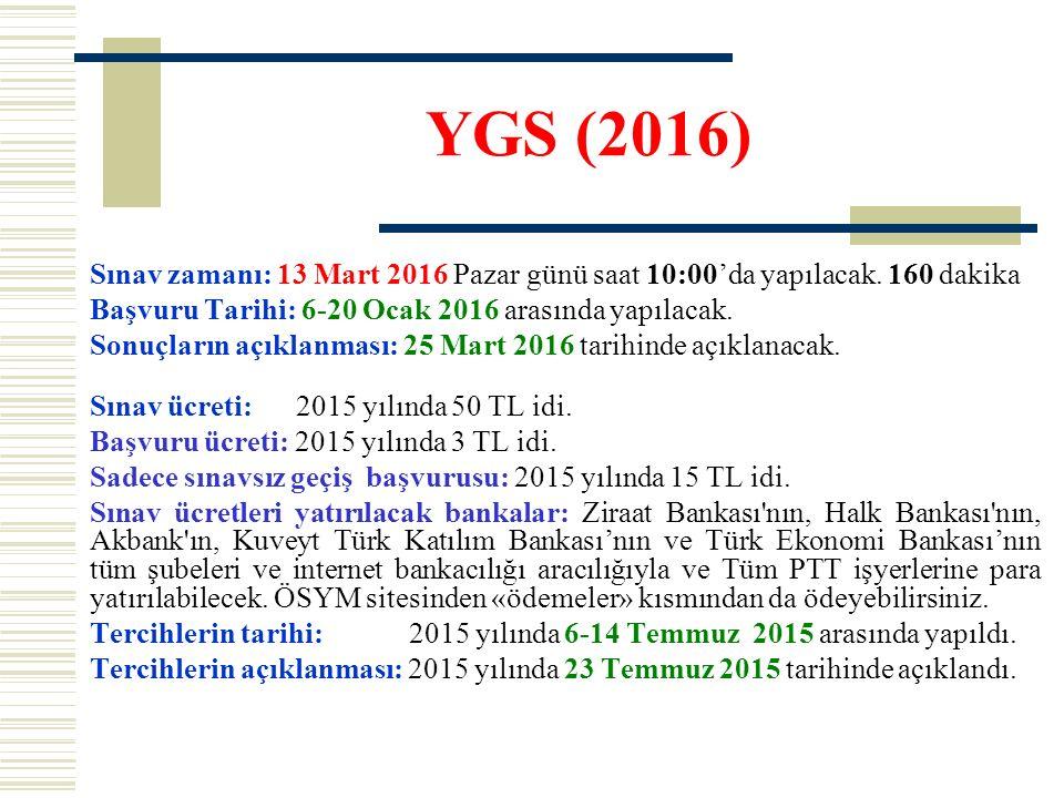 YGS (2016) Sınav zamanı: 13 Mart 2016 Pazar günü saat 10:00'da yapılacak. 160 dakika. Başvuru Tarihi: 6-20 Ocak 2016 arasında yapılacak.