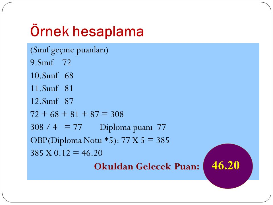 Örnek hesaplama 46.20 Okuldan Gelecek Puan: (Sınıf geçme puanları)
