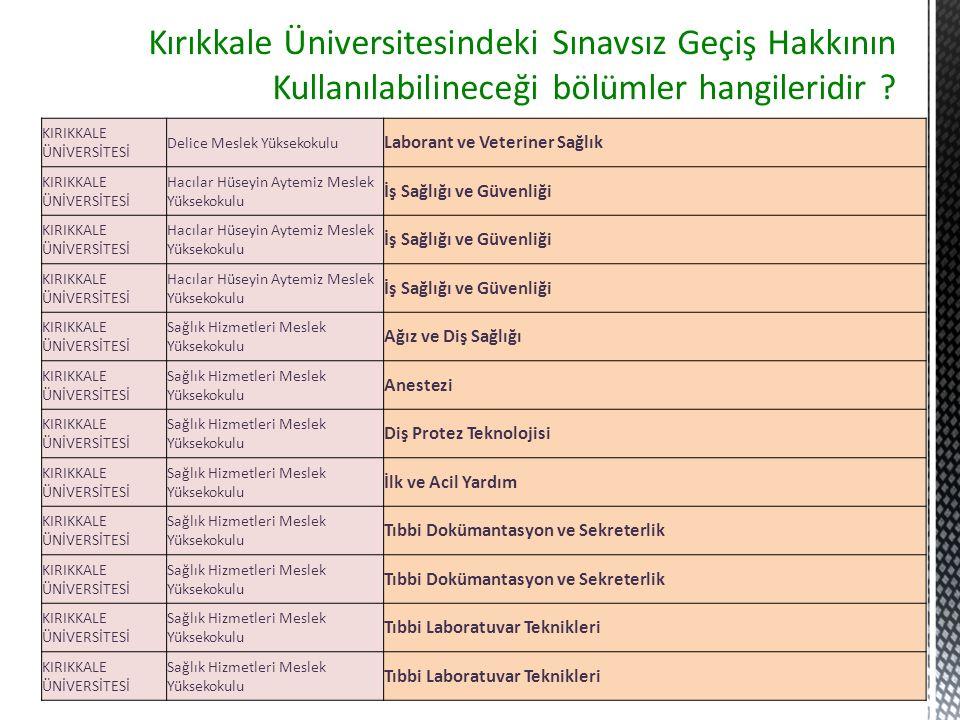 Kırıkkale Üniversitesindeki Sınavsız Geçiş Hakkının Kullanılabilineceği bölümler hangileridir